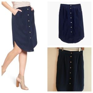 Madewell 'Island' Silk Button Front Skirt